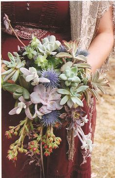 Succulent Bouquet...Wow, this bouquet is quite stunning, I think.  And so creative!