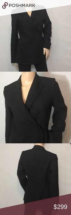 Michaa • Wool Blazer Wrap • Sz 6 Great form fitting blazer with a wrap and button with eye hook closure • Great to wear with jeans or dress up with slacks • Size 6 • Korean Designer - Michaa Michaa Jackets & Coats Blazers