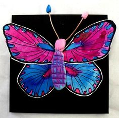 3d butterfly- smaller version- model magic body painted, paper painted and cut wings