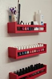 "Reuse spice racks as shelves for your smaller bathroom objects...For more organization tips check out the article ""DIY Bathroom Organization Tips"" by Kitchen Bath Trends"
