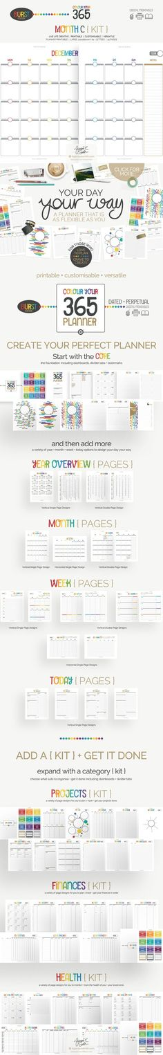Printable Planner Month C {kit}. Stationery Templates. $4.00