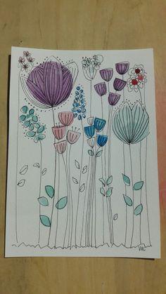 Watercolor Beginner, Watercolor Paintings For Beginners, Kids Watercolor, Watercolor Bookmarks, Watercolor Projects, Watercolor And Ink, Watercolor Illustration, Art Drawings For Kids, Flower Doodles