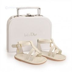 Baby Dior Cream Sandals in a Gift Suitcase Dior Sandals, Dior Shoes, Baby Girl Shoes, Girls Shoes, Baby Girls, Baby Girl Fashion, Kids Fashion, Dior Kids, Boy Clothing