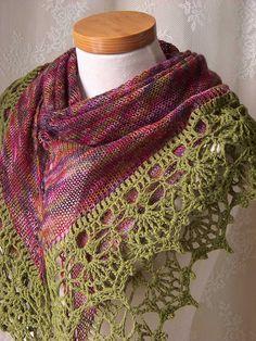 Paula knit and crochet shawl pattern by BernioliesDesigns