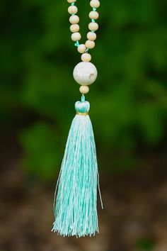 On And On Mint Tassel Necklace at reddressboutique.com