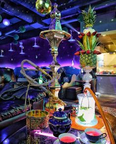 Beautiful Hookah setup with fruit bowl creations!
