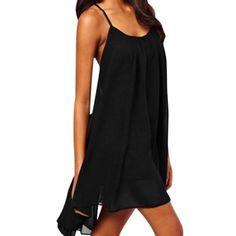 3ccef68854c2 Allegra K Women s Round Neck Metal Decor Strappy Cami Back Pullover Chiffon  Dress Black (Size