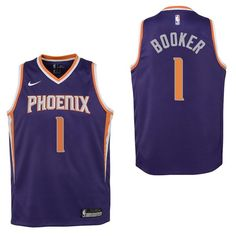 fe91ecc9b Camisetas NBA Niño Phoenix Suns NO.1 Devin Booker Púrpura Icon 2017-18  Baratas
