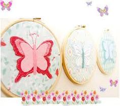 Butterfly wall art by Red Brolly . Red Brolly, Butterfly Wall Art, Hand Embroidery, Embroidery Hoops, Hand Stitching, Diy Tutorial, Needlework, Sewing Projects, Applique