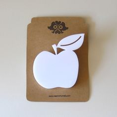 Apple Brooch in White Perspex by NaomiMurrell on Etsy | This apple brooch features a beautiful perspex laser cut apple on a sweet little safety clasp.