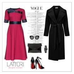 """""""Cherry Sweet Elegance' Short Sleeve Midi Wool Dress, Decorated With Eco Leather"""" by lattori ❤ liked on Polyvore featuring Lattori, Atterley, Posh Girl, Givenchy, Quay, Chanel, women's clothing, women's fashion, women and female"""