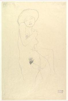 Gustav Klimt, Standing Nude donated to the Met by Scofield Thayer. Courtesy of the Metropolitan Museum of Art. Gustav Klimt, Klimt Art, Franz Josef I, Picasso Drawing, Vienna Secession, Artist Sketchbook, Metropolitan Museum, Portrait, Japanese Art