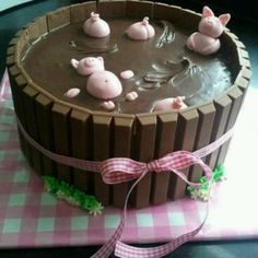 Pig cake. So cute for a farm themed party.  Recipe included