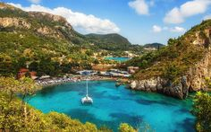 white yacht, bay, beach, cliffs, coast, sea, Paleokastritsa, Corfu, Greece Greek island Sredrizemnoe Sea, Ionian Islands