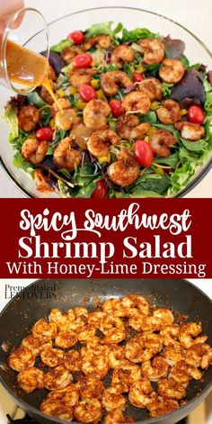 A quick and easy recipe for Southwest Shrimp Salad with a homemade Spicy Honey-Lime Salad Dressing. A healthy salad recipe for lunch or dinner. salad recipes Southwest Shrimp Salad with Spicy Honey-Lime Dressing Salad Recipes Healthy Lunch, Shrimp Salad Recipes, Best Salad Recipes, Salad Recipes For Dinner, Dinner Salads, Easy Salads, Easy Healthy Recipes, Quick Easy Meals, Seafood Recipes