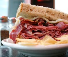 This smoked corned beef recipe results in undeniable flavor. After smoking, it will taste similar to pastrami and your family will enjoy every bite. Grilled Corned Beef, Smoked Corned Beef Brisket, Corned Beef Sandwich, Pastrami Sandwich, Brisket Meat, Deli Sandwiches, Smoked Beef, Smoked Chicken, Irish Recipes
