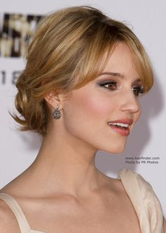 Dianna Agron   Hair away from the face in an updo with a knot upstyles for short hair   Clothes Site Blog