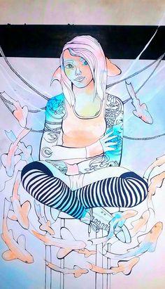 1 by Joy Zimmerman Multimedia  (paint, acrylic wash, sharpie, India Ink)