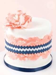 Pink petals and blue chevron- what a great combo! Jenna Rae Cakes