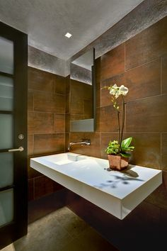 Wall mounted vanity. Tucson Residence Kitchen contemporary powder room