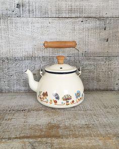 Teapot Vintage Mid Century Metal Teapot Vintage Enamel Teapot with Wood Handle Tea Kettle Retro Teapot Mid Century Kitchen Decor by TheDustyOldShack on Etsy