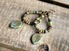 Shades of Autumn  Czech Glass Earrings. by GillsHandmadeJewels