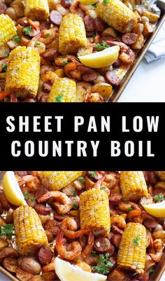 This Sheet Pan Low Country Boil replicates a Cajun classic and it comes together using a single sheet pan! Shrimp, corn, sausage, potatoes and Old Bay seasoning roasted together in a matter of minutes with minimal mess! Country Boil, Low Country, Sausage Potatoes, Whole30 Recipes, Sheet Pan, Meal Prep, Shrimp, Healthy Food, Minimal