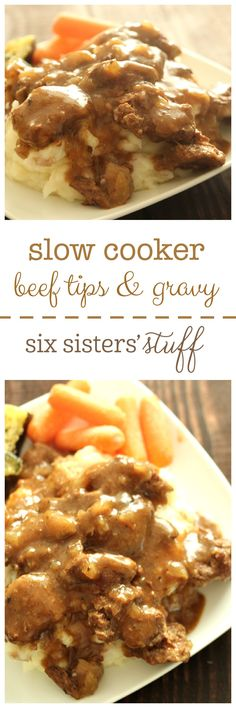 Slow Cooker Sirloin Beef Tips and Gravy from SixSistersStuff.com
