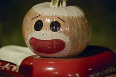sock monkey painted pumpkin 2012 by lisagroon, via Flickr Pumpkin Books, Pumpkin Art, Pumpkin Faces, Pumpkin Carving, Pumpkin Painting, Pumpkin Ideas, Sock Monkey Halloween, Halloween Treats, Halloween Pumpkins