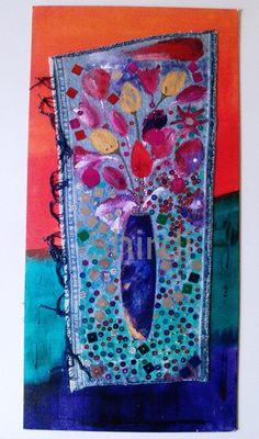 *Dieses handgearbeitete Original, ist auf einer Hartkarton-Leinwand dargestellt. Es wurde mit meiner alten Jeans dekoriert & bemalt & integriert ...