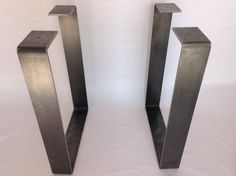 """28 """"WIDE FLAT Steel Square Table Legs SET(2)   I found our desk legs on Craigslist for $50...but not before considering different option that I found on Etsy. Here is a nice pair pictured in this pin. Take a look on Etsy for your desk legs and be sure to look at all offered there as each store has different styles/price-points. Take into account how tall the finished desk-top will be so that you can order the right height for the legs. I used our old desk as a model for the right height for…"""