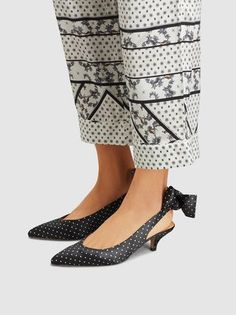 eb0e0bbf9bc Ganni - Black   White Polka Dot Slingback Kitten Heels with a bow tied at  the back. Do you like polka dots  These would be a great transition piece  from ...