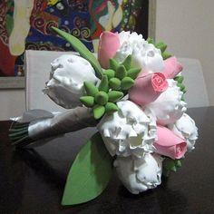 bling bridal bouquet, art clay flower bouquet make order