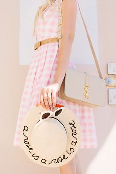 Gingham pink dress + checkered straw boater hat