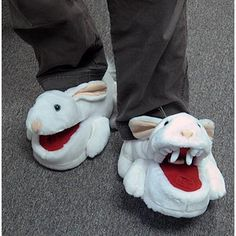 "Monty Python Killer Rabbit Slippers!  -   ""Do not sue us if the rabbits kill you; it's not OUR fault, you were warned.""  ""Cozy, wearable versions of the most feared rabbit in film history. Mouth opens and closes when you walk. """