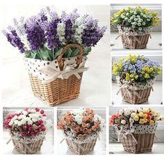rattan square storage basket vase with lavender rose artificial flower home decor wedding decorative flowers