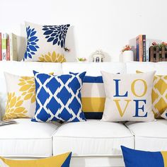 Buy Modern Simple Geometric Style Pillowslip Pillowcase Soft Linen Burlap Square Throw Pillow Covers High Quality at Wish - Shopping Made Fun Boho Throw Pillows, Yellow Throw Pillows, Sofa Pillows, Throw Pillow Covers, Cushion Covers, Cute Cushions, Scatter Cushions, Yellow Master Bedroom, Blue And Yellow Living Room