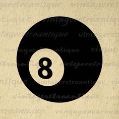 Eight Ball Graphic Printable Download Digital Billiards Pool Image Vintage Clip Art Jpg Png Eps 18x18 HQ 300dpi No.4006 @ vintageretroantique.etsy.com #DigitalArt #Printable #Art #VintageRetroAntique #Digital #Clipart #Download