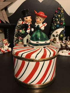 Vintage Lefton Christmas Candy Cane Candy Dish Music Box Couple Japan 1950's