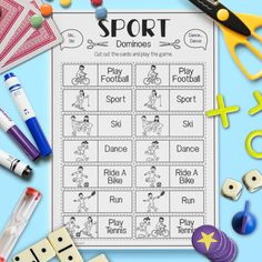 ESL Kids Sport 'Dominoes' Game Activity Worksheet #esl Learning Games For Kids, Home Learning, Activities For Kids, Efl Teaching, Teaching Vocabulary, Teaching Ideas, English Activities, Language Activities, Sport English