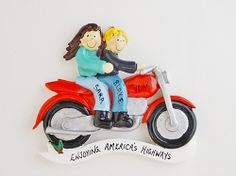 Personalized Ornament Motorcycle Couple - Female Brown Hair/Male Blonde Hair