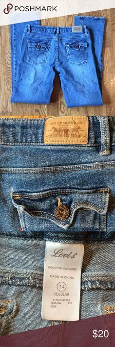 Levi's jeans slim straight fit  14 adjustable Levi's jeans slim straight fit size 14 regular with adjustable waist. Wear at back pockets. Levi's Bottoms Jeans