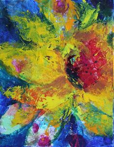 Amy Whitehouse Paintings: Psychedelic Sunflower Acrylic Abstract ...