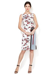 Sparrow Print Geometric Applique Dress by Carolina Herrera at Gilt