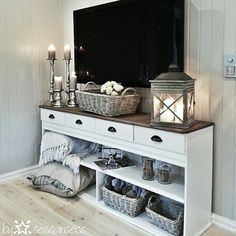 44 Modern TV Stand Designs for Ultimate Home Entertainment Tags: tv stand ideas for small living room, tv stand ideas for bedroom, antique tv stand ideas, awesome tv stand ideas, tv stand ideas creative Home Living Room, Apartment Living, Living Room Dresser, My New Room, Home Projects, Family Room, Sweet Home, New Homes, Interior Design