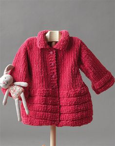 This crochet baby jacket pattern will keep your baby toasty warm this winter. Knitted Coat Pattern, Baby Sweater Knitting Pattern, Jacket Pattern, Kids Knitting Patterns, Coat Patterns, Knitting For Kids, Free Knitting, Crochet Baby Jacket, Knitted Baby Cardigan