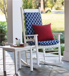 Classic Slatted Rocker in low-maintenance eucalyptus is a classic favorite for patio and porch.