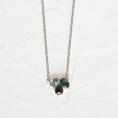 Cluster Necklace, Arrow Necklace, Pendant Necklace, Green Sapphire, Sapphire Stone, 14k Gold Rope Chain, Alexandrite, Gold Set, Jewelry Design
