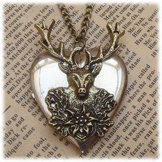 Steampunk Deer Locket Necklace