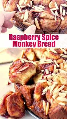 Don't have time to bake from scratch? No problem! This Shortcut Raspberry Spice Monkey Bread comes together in a matter of minutes using tube biscuits and raspberry jam.   Kudos Kitchen by Renee Best Breakfast Recipes, Sweet Breakfast, Breakfast Dessert, Brunch Recipes, Breakfast Pastries, Sweets Recipes, Breakfast Ideas, Vegetarian Recipes Easy, Vegetable Recipes